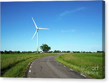 Canvas Print featuring the photograph Windmill By A Country Road Side by Kennerth and Birgitta Kullman