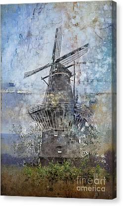 Windmill In Amsterdam Canvas Print by Barbara Dudzinska