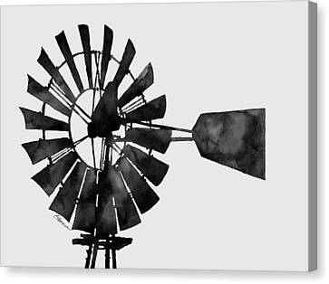Windmill In Black And White Canvas Print by Hailey E Herrera