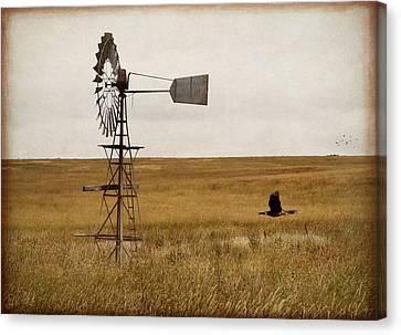 Canvas Print featuring the digital art Windmill by Margaret Hormann Bfa