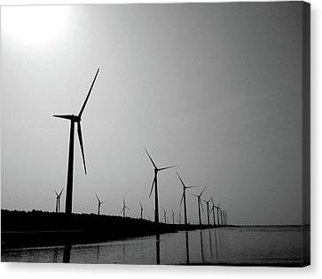 Wind Turbines Canvas Print - Windmill by Nadia Hung