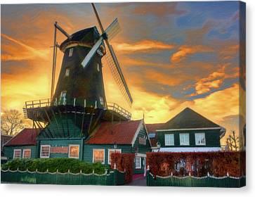 Windmill Sunset Canvas Print by Nadia Sanowar