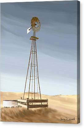 Canvas Print featuring the painting Windmill by Terry Frederick