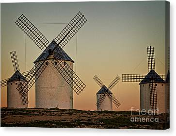 Windmills In Golden Light Canvas Print by Heiko Koehrer-Wagner