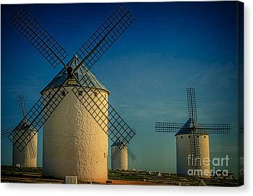 Windmills Under Blue Sky Canvas Print by Heiko Koehrer-Wagner