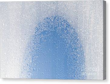 Window And Freezing Snow On Glass Canvas Print