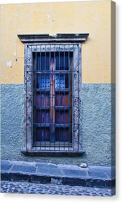 San Miguel De Allende Canvas Print - Window And Textured Wall by Carol Leigh