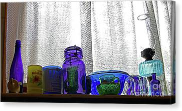 Window Colored Glassware Canvas Print by Rich Walter