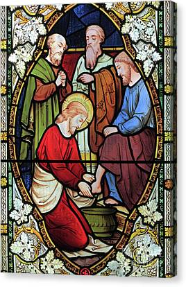 Window Depicting Jesus Washing The Feet Of His Disciples Canvas Print by English School