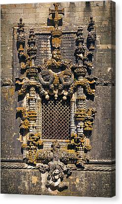 Medieval Temple Canvas Print - Window In Convent Of Christ - Tomar by Carlos Caetano