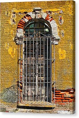 Window In The Yellow Wall By Darian Day Canvas Print by Mexicolors Art Photography