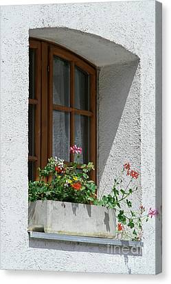 Window In Zermatt Canvas Print by Christine Amstutz