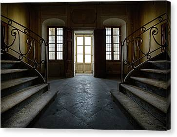 Canvas Print featuring the photograph Window Light On Dark Stairs by Dirk Ercken