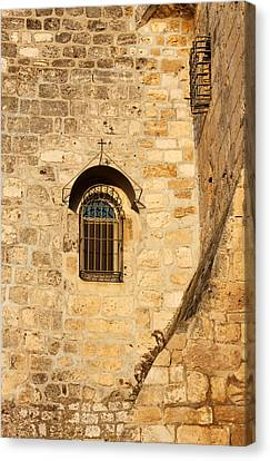 Window Of Nativity Church Canvas Print by Munir Alawi