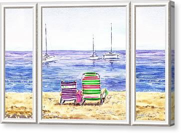 Beach Theme Decorating Canvas Print - Window Of The Beach House by Irina Sztukowski