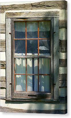 Window On Log Cabin Canvas Print by Donald  Erickson