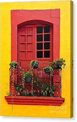 Window On Mexican House Canvas Print