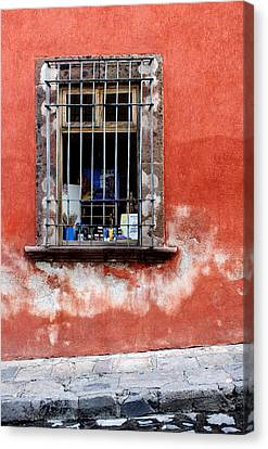 Window On Red Wall San Miguel De Allende, Mexico Canvas Print by Carol Leigh