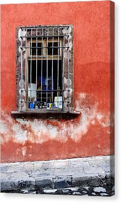 San Miguel De Allende Canvas Print - Window On Red Wall San Miguel De Allende, Mexico by Carol Leigh