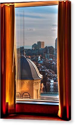 Window To The City - Liberty Hotel - Boston Cityscape Canvas Print