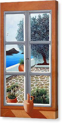 Window With A View, Santorini - Prints From Original Oil Painting Canvas Print by Mary Grden Fine Art Oil Painter Baywood Gallery