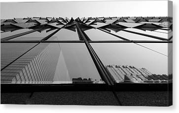 Windows And Reflections Of One W T C  B W Canvas Print by Rob Hans