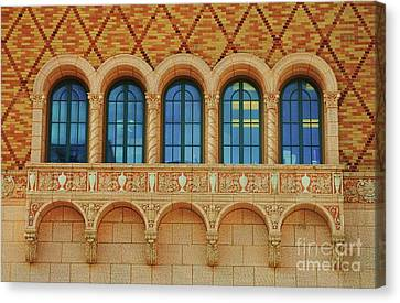 Rose Patterned Curtains Canvas Print - Windows At The Rose Theater, Omaha by Poet's Eye