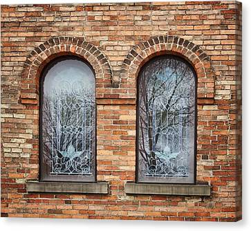 Civil War Site Canvas Print - Windows - First Congregational Church - Jackson - Michigan by Nikolyn McDonald
