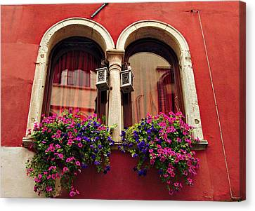 Windows In Venice Canvas Print by Tamara Sushko