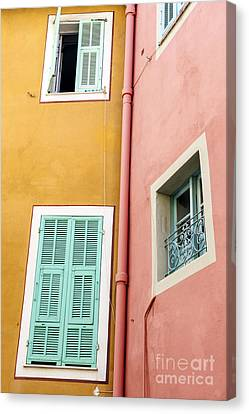 Windows In Villefranche-sur-mer Canvas Print by Elena Elisseeva