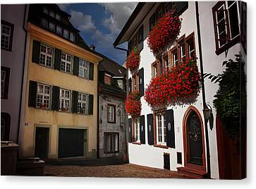 Europe Canvas Print - Windows Of Basel Switzerland  by Carol Japp