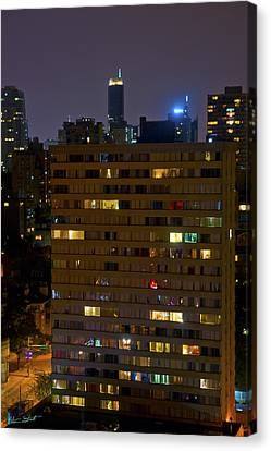 Vancouver At Night Canvas Print - Windows Of Light by Mumbles and Grumbles