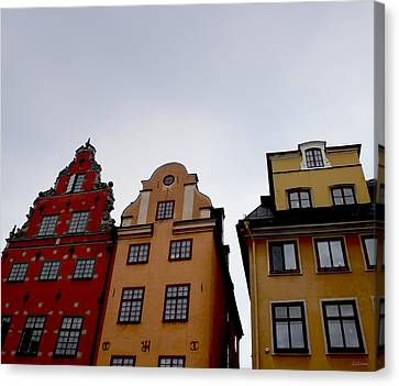 Yellow Building Canvas Print - Windows On Gamla Stan by Linda Woods