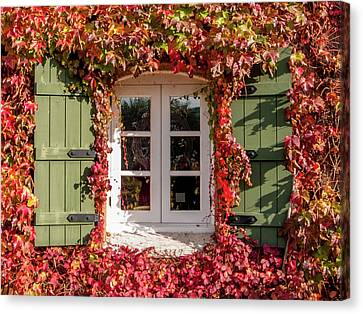 Window,shutters,and Fall Colors Canvas Print