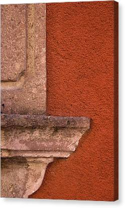 Windowsill And Orange Wall San Miguel De Allende Canvas Print by Carol Leigh
