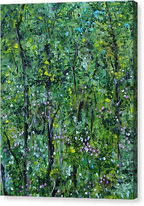 Canvas Print featuring the painting Windsor Way Woods by Judith Rhue