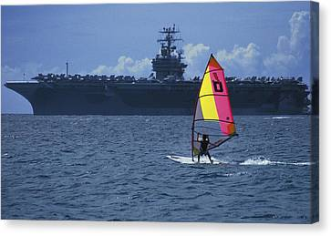 Windsurfer And Aircraft Carrier Canvas Print by Carl Purcell