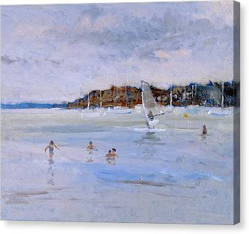 Windsurfer And Bathers Canvas Print