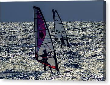 Windsurfers Canvas Print by Stelios Kleanthous