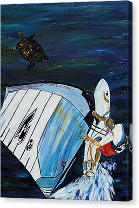 Windsurfing And Sea Turtle Canvas Print by Gregory Allen Page