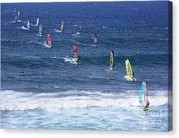 Windsurfing In Maui Hawaii Canvas Print by Diane Diederich