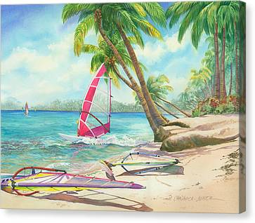 Windsurfing The Tropics Canvas Print by Marguerite Chadwick-Juner