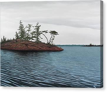 Windswept Island Georgian Bay Canvas Print by Kenneth M  Kirsch