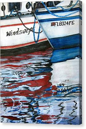 Canvas Print featuring the painting Windswept Reflections Sold by Lil Taylor