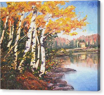 Canvas Print featuring the painting Windy Birches by Diane Daigle