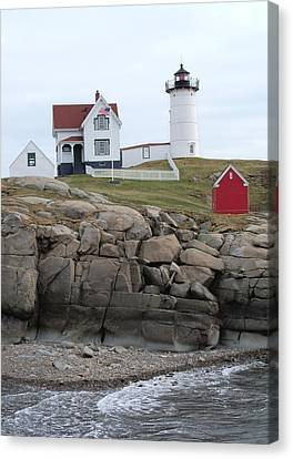 Windy Day At Nubble Light Canvas Print by Katie Beougher