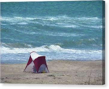 Windy Day Beach Tent Canvas Print by Sandi OReilly