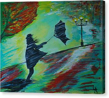 Canvas Print featuring the painting Windy Escapade by Leslie Allen