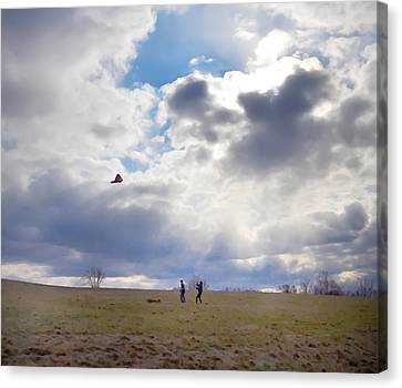 Windy Kite Day Canvas Print by Bill Cannon
