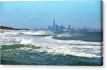 Windy View Of Nyc From Sandy Hook Nj Canvas Print by Gary Slawsky